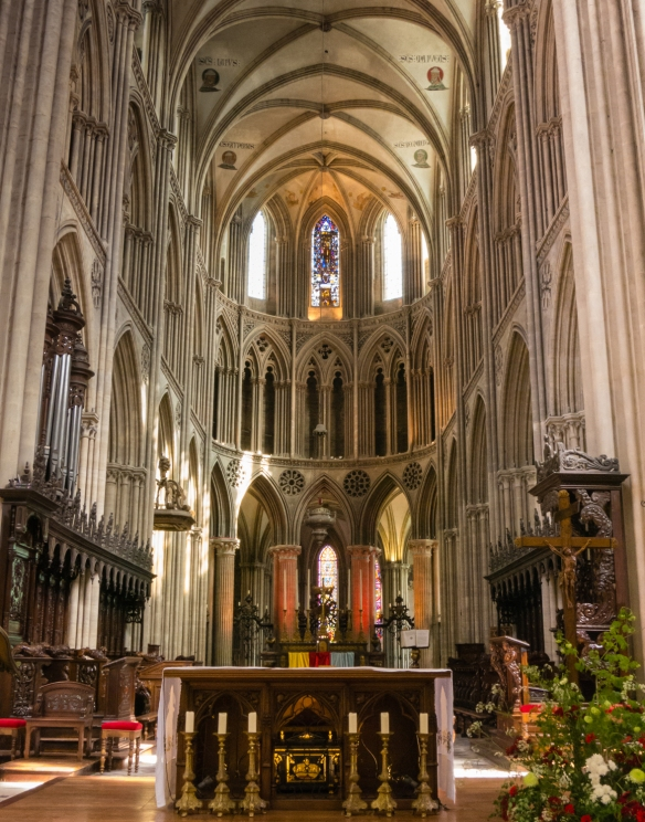 The nave and altar of Bayeux Cathedral, Bayeux, Normandy region, France