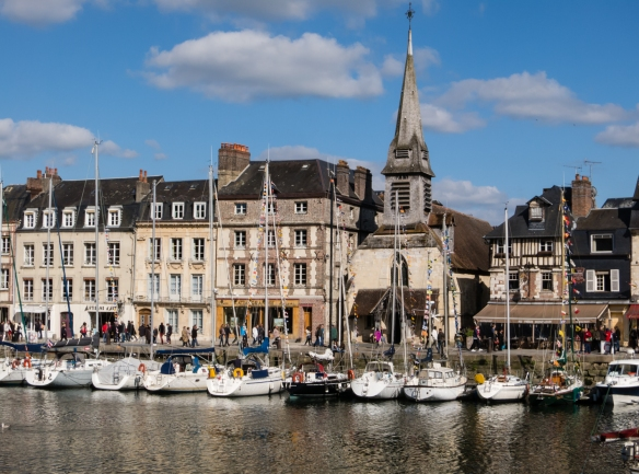 The picturesque harbor, Vieux Bassin (old basin, or old harbor), in Honfleur, Normandy region, France