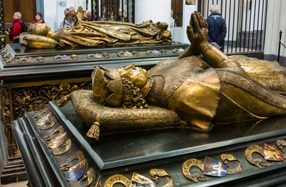 The tombs of the Duke of Burgundy and Mary of Burgundy in the Church of Our Lady, dating to approximately 1500 A.D., Bruges, Belgium