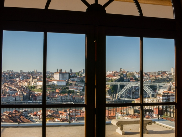 The Yeatman Hotel (adjacent to Taylor's lodges) overlooks Ponte Dom Luis I (Dom Luis I Bridge) which spans the Douro River, connecting Porto (the top side of the photograph) with Vila Nova de Gaia, Portugal