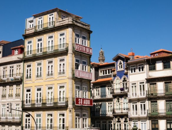 Typical older residential buildings in the Barredo district, Porto (Oporto), Portugal