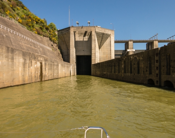 Waiting for the gates to open to sail into the second and highest lock on the Douro River in Portugal at Carrapatelo Dam, which has a maximum lift of 35 metres (115 feet), heading to the Douro Valley, Portugal