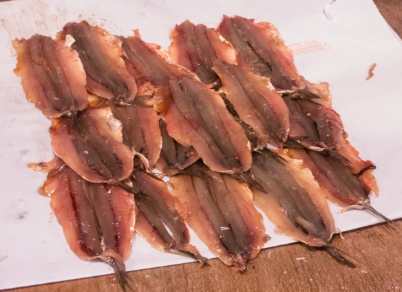 We bought 30 cleaned and filleted fresh sardines for dinner for US$3 at a fishmonger's stall at Mercado de la Esperanza (the central market), Santander, Spain