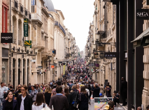We visited on a holiday weekend, so the main pedestrian thoroughfare, Cours de l'Intendance, was crowded with shoppers, Bordeaux, France