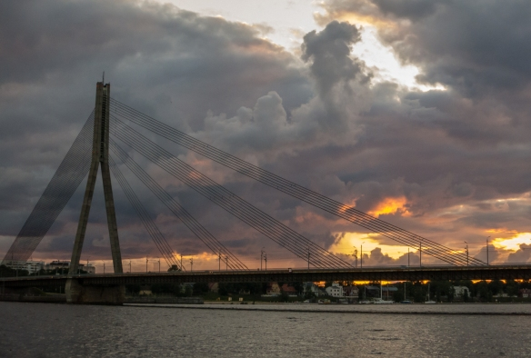 11 p.m. sunset at Vansu Tilts (Vansu Bridge), a cable-stayed bridge that crosses the Daugava River in Riga, opened to the public in 1981 as the Gorky Bridge (after Maxim Gorky Street, under the USSR controlled government), Latvia