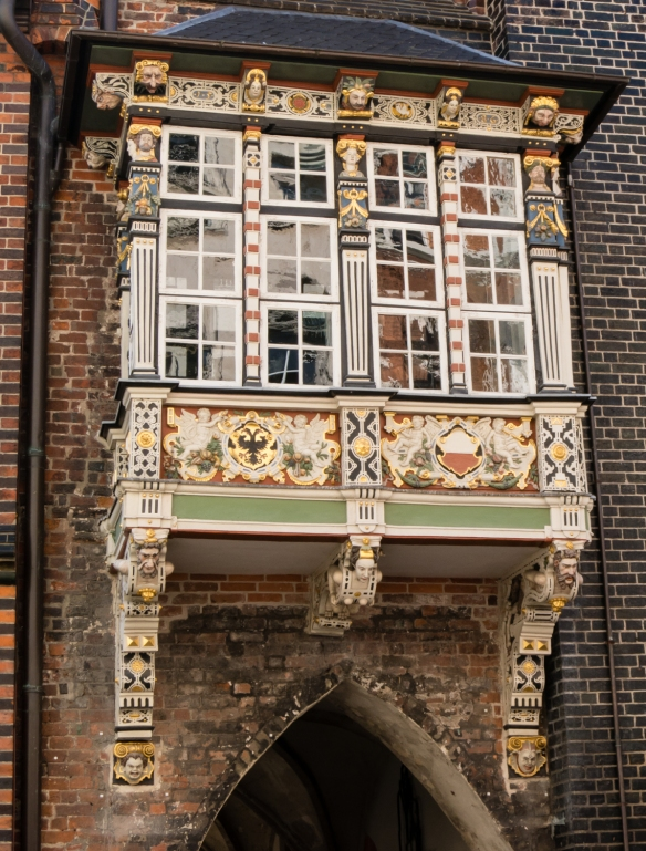 A beautiful, highly-decorated bay window on a medieval home in old town, Lübeck, Germany