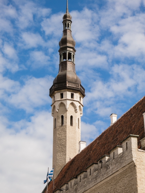 A close-up of the spire of Tallinna Raekoda (Town Hall); the tower is accessible for climbing for a view of the city during the summer; Tallinn, Estonia