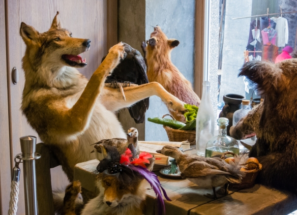 "A fantastical dining scene tableau at the storefront window of the 2-year old, all local products restaurant, ""Farm"", near the Viru Gates [see next photograph] where, with friends, we had an incredible Estonian dinner; Tallinn, Estonia"