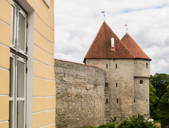 A portion of the old town wall in Toompea (upper Old Town); the walls, constructed in the 13th century, covered a circumference of 1.9 km (1.2 miles) and are one of Europe's best preserved Medieval fortifications; Tallinn, Estonia