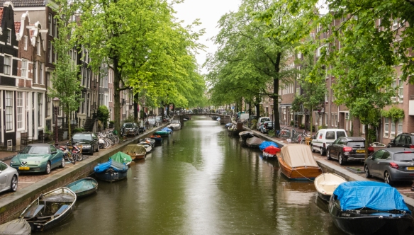 A quiet canal in the Jordaan Quarter, Amsterdam, Netherlands