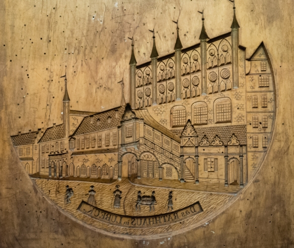 A wooden mould for marzipan confections, based on a lithograph of the Lübecker Rathaus (Town Hall) by Carl Schroeder, in the Niederegger marzipan museum (upstairs), Café Niederegger, Lübeck, Germany