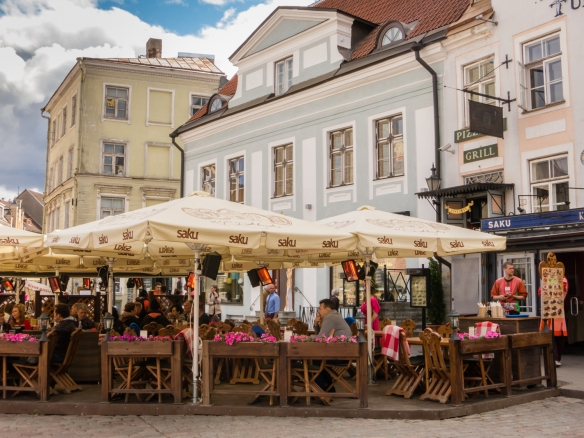 An outdoor cafe in Raekoja Plats (Town Hall square), Tallinn, Estonia
