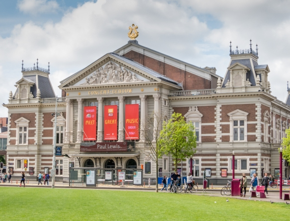 At the southern end of the Museumplein is the world-renowned Royal Concertgebouw Orchestra House, Amsterdam, Netherlands