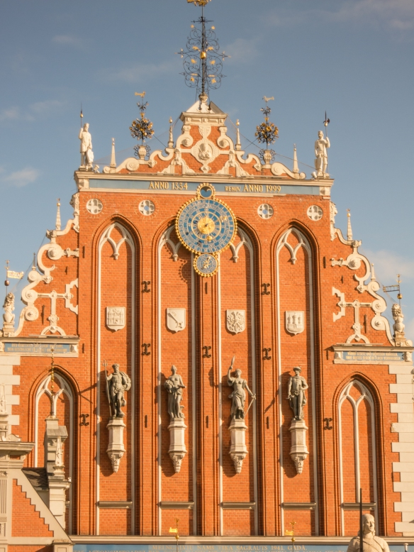 Close-up of the upper level of the façade of House of the Blackheads, Riga, Latvia