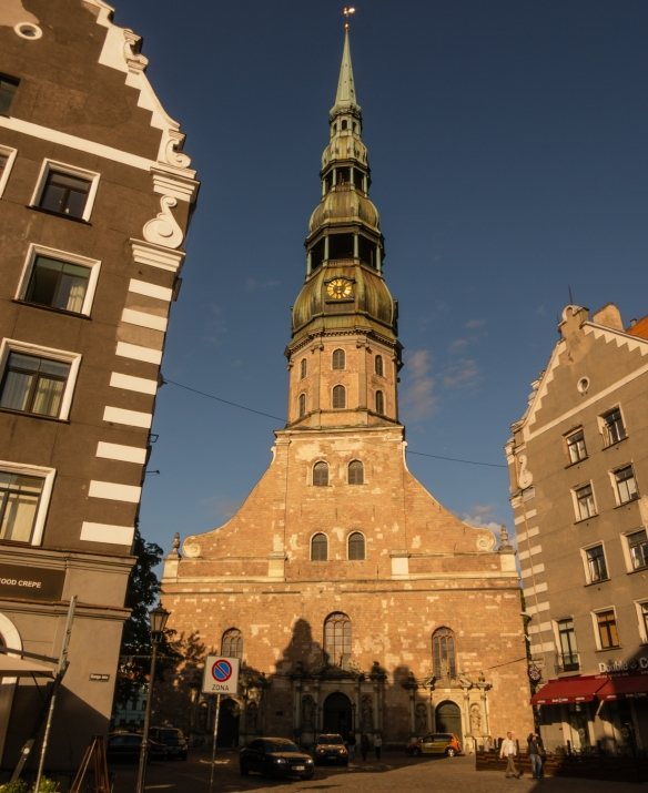 Constructed in 1209, Sv Peteara (St. Peter's Church) is an excellent example of Gothic architecture from the 13th century; it has Riga's tallest church spire and is included on the list of UNESCO World Heritage Sites, Riga, Latvia