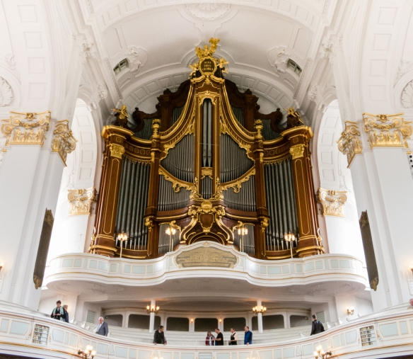 Hauptkirche St. Michaelis (Saint Michael's Church) is well known for its four organs, the larger one pictured here, with two on the sides of the transcept and one with the pipes in the ceiling, sounding like music from heaven, Hamburg, Germany