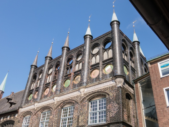 Highly decorated façade and spires of the the Lübecker Rathaus (Town Hall), Lübeck, Germany