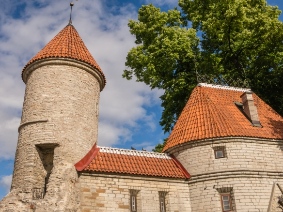 One of the two Viru Gates towers that were part of the larger and more complex defense system that once protected All-linn (Lower Old Town), built in the 14th century; Tallinn, Estonia