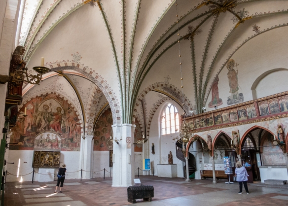 Originally a civil social institution, The Heiligen-Geist-Hospital was later run by the Catholic Church; a church with remarkable mural paintings also belongs to the large complex in Altstadt (old town), Lübeck, Germany