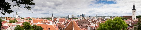 Panorama of All-linn (Lower Old Town) taken from Toompea (Upper Old Town), Tallinn, Estonia