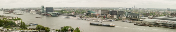 Panorama of central Amsterdam to the east from the 22nd floor of the A'DAM Tower in Amsterdam Noord (North), across the Amstel River, Netherlands