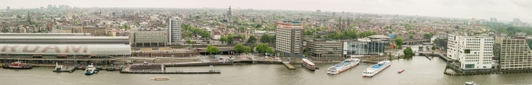 Panorama of central Amsterdam to the south and west from the 22nd floor of the A'DAM Tower in Amsterdam Noord (North), across the Amstel River, Netherlands