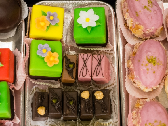 Petit fours and other marzipan confections for sale at Café Niederegger, Lübeck, Germany