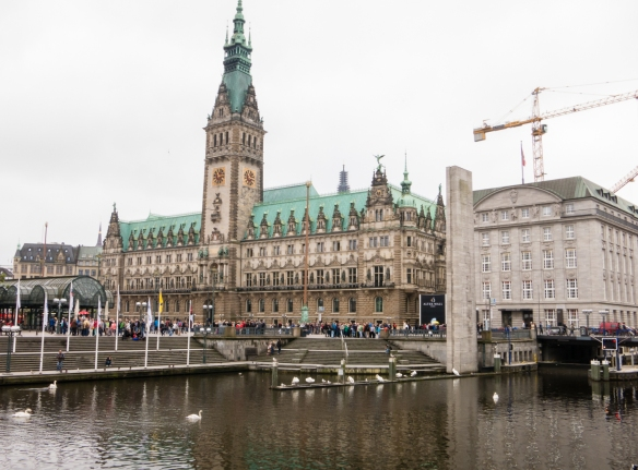 Rathaus (City Hall) -- built 1886 to 1897 -- dominates the center of Hamburg, Germany, where it is situated on a large plaza, adjacent to the Alsterakaden Canal, connecting the Binnenalster Lake with the Norderelbe (Northern Elbe) River