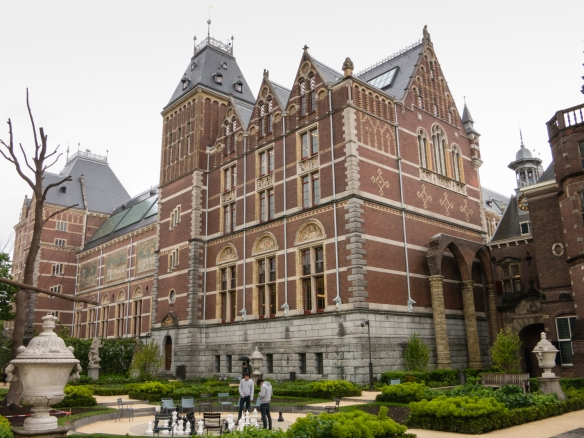 "Side view of the imposing Rijksmuseum which chronicles Dutch history through art and artifacts from 1200 to the present day, including Rembrandt's career-defining civic guard portrait ""The Night Watch"", Museumplein, Amsterdam, Netherlands"
