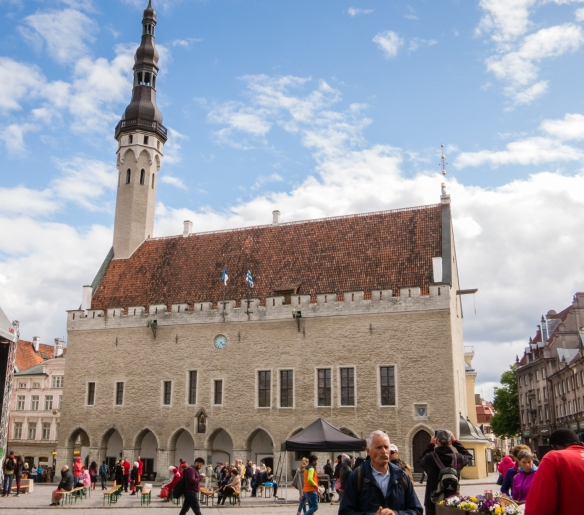 Tallinna Raekoda (Town Hall), dates back to the early 15th century (the weathervane atop the spire was first placed there in 1530); it is now used for concerts and select political events; Tallinn, Estonia