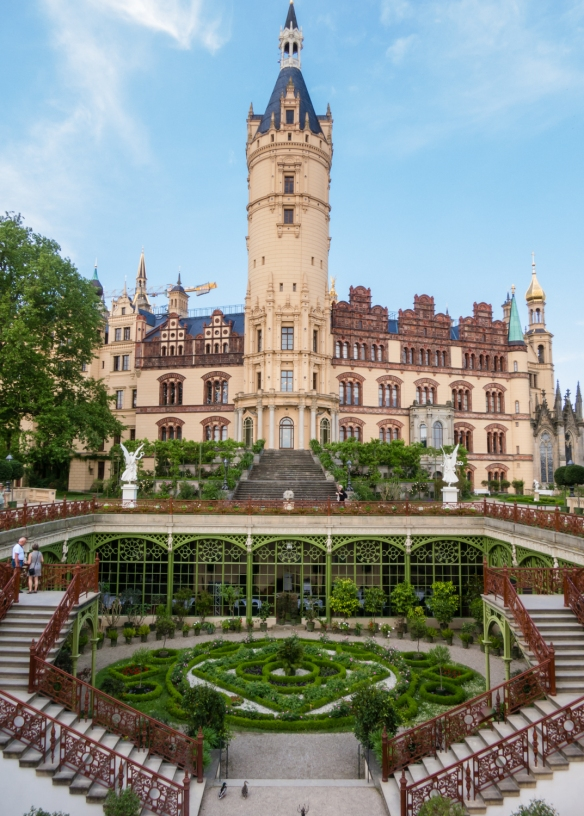 The close-in gardens now house a beautiful restaurant; the view of Scholss Schwerin (Schwerin Castle) is from the south, Schwerin, Germany