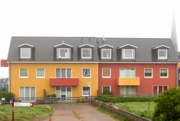 The contemporary homes are brightly painted, helping to erase the memory of the 1947 bombing of the island (nearly into oblivion) by the British Royal Air Force, Helgoland, Germany