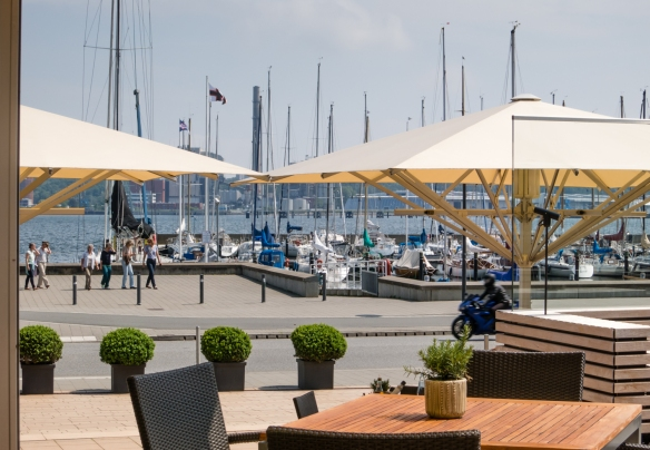 The excellent view of the embankment and sailboats from our table at lunch at the Kiel Yacht Club (KYC), where we enjoyed deliciously prepared fresh, local fish, Kiel, Germany