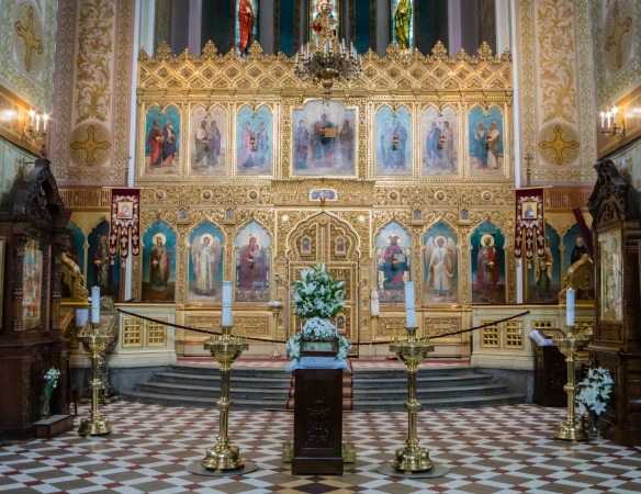 The highly decorated Russian Orthodox interior of St. Aleksander Nevsky Cathedral, Tallinn, Estonia