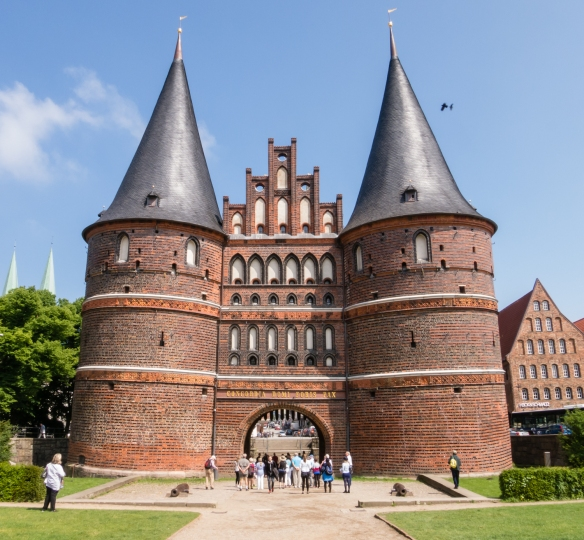 "The Holstentor city gate, 1477, in Altstadt (old town) is the emblem of Lübeck; it is inscribed with ""1477 S.P.Q.L. 1871"" where S.P.Q.L. is modeled on the Roman ""Senātus Populusque Rōmānus"" (the Senate and People of Rome), Germany"