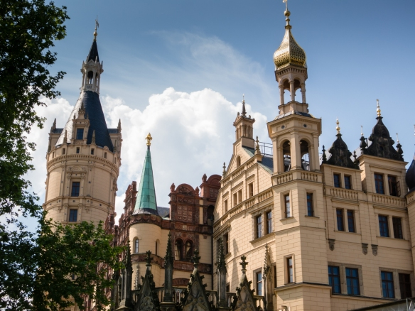 The newer 19th century additions to the castle (including the Russian-style turret) surround the older 16th century portions of the castle, built by Duke Albrecht, who turned the earlier defensive, fort-like structure into a palace, Schwerin, Germany