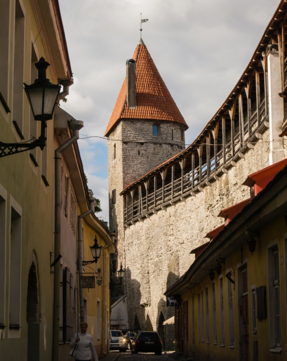 The old town wall at the eastern side of All-linn (Lower Old Town), Tallinn, Estonia