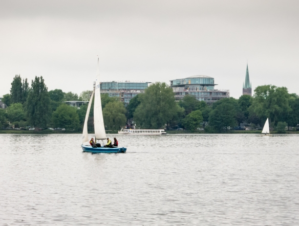 The view from our canal boat as we sailed from Binnenalster (Inner, and smaller Alster) Lake to Aussenalster (Outer, and larger, Alster) Lake and the interconnected canals in the Uhlenhorst neighborhood, Hamburg, Germany