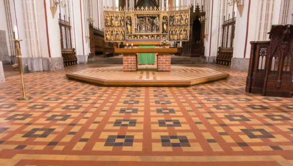 "Tile patterns in the intersection of the nave and transept of Schweriner Dom (""Brick Gothic Cathedral""), Schwerin, Germany"