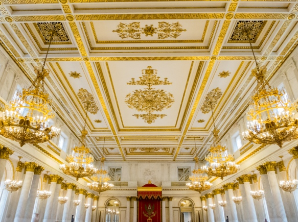 A typical ceiling showing the high level of decorations in the palace rooms, The Winter Palace, St. Petersburg, Russia