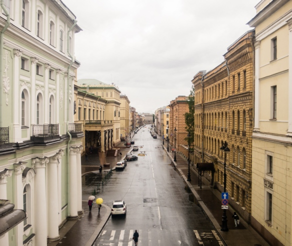 A view of the city in the rain from a window in The Winter Palace, St. Petersburg, Russia