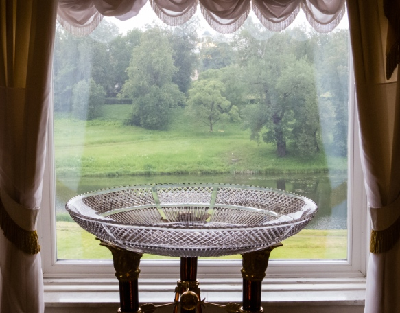 A view of the Pavlosk Gardens from one of Tsar Paul I's private rooms, Pavlosk Palace, St. Petersburg, Russia