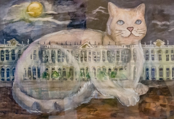 "A winner in the annual students' art completion, this year depicting one of the 30 cats that live in the basement of the museum – a group of ""protectors"" to catch the museum mice!; The Hermitage Museum, St. Petersburg, Russia"