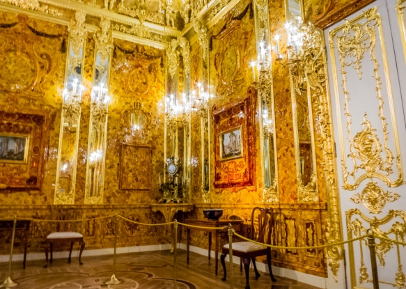 Amber Room, Catherine's Palace, St. Petersburg, Russia, completely reconstructed after World War II following the German Nazis' theft in 1941 of all of the wall decorations, including the amber mosaic wall panels