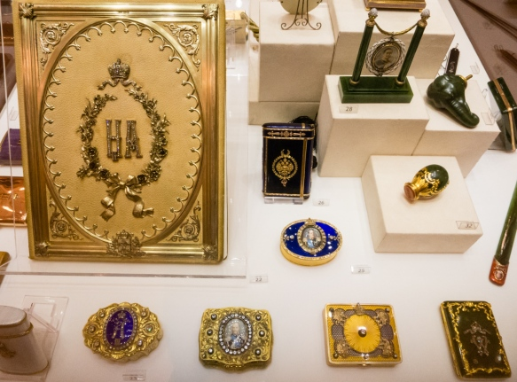 "An exhibition display of Fabergé-designed and created ""Cabinet gifts"" given away by the Romanov tsars, Fabergé Museum, St. Petersburg, Russia"