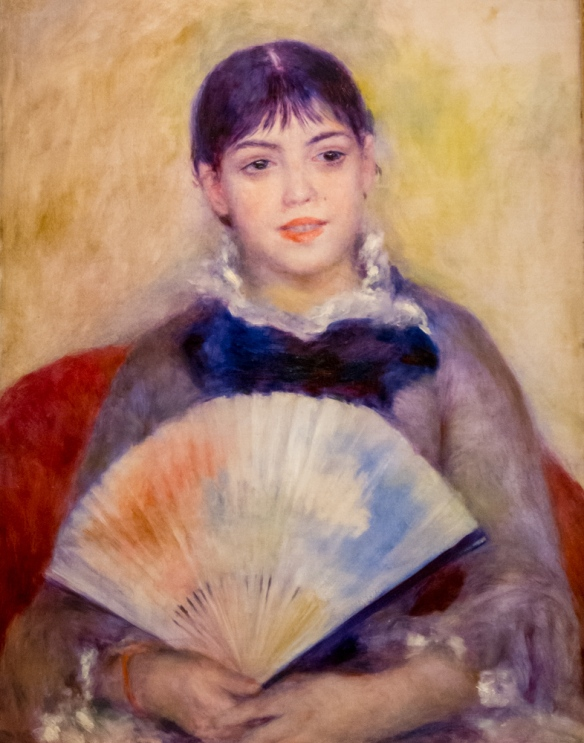 "Auguste Renoir (1841 – 1919) ""Young Woman with a Fan"", 1880, oil on canvas, from I. A. Morozov's collection, The Hermitage Museum, St. Petersburg, Russia"