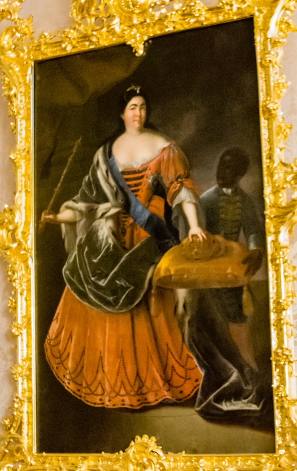 "Catherine II of Russia (""Catherine the Great""), born Sophia Augusta Fredericka in Germany, became Empress after she ordered her husband, Tsar Peter III, murdered in a coup, while he was on a holiday; Catherine's Palace, St. Petersburg, Russia"