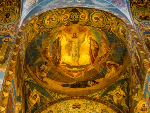 Ceiling and wall mosaics, The Church of Our Savior on the Spilled Blood, St. Petersburg, Russia