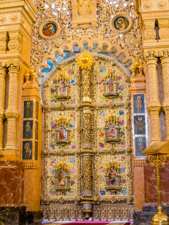 Close-up of the elaborate entry doors to the altar, The Church of Our Savior on the Spilled Blood, St. Petersburg, Russia