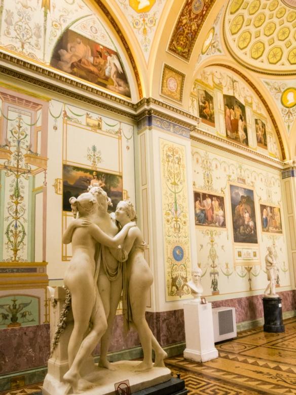 Detail of European Sculpture Gallery, The Hermitage Museum, St. Petersburg, Russia